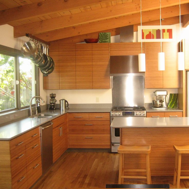 Ikea kitchen cabinets with semihandmade bamboo fronts for Bamboo kitchen cabinets ikea