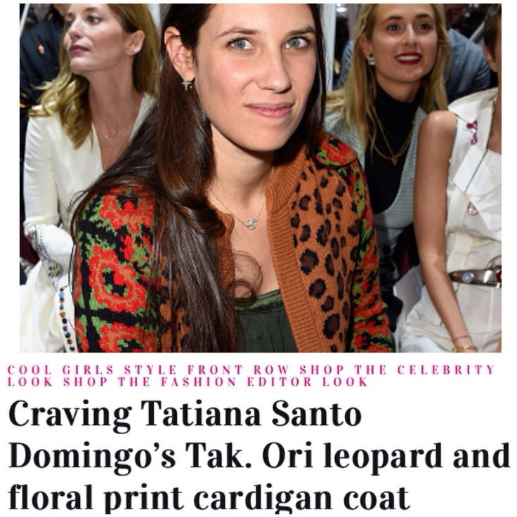 Tatiana Santo Doming wearing Tak.Ori Made in Italy cardigan with animal print to Dior couture show