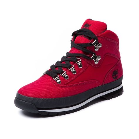 Shop for Mens Timberland Canvas Euro Hiker Boot, Red, at ...