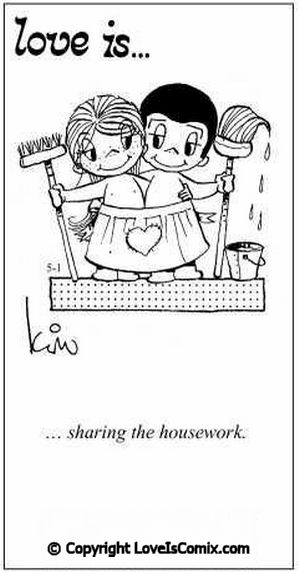 """""""Love is... sharing the housework"""