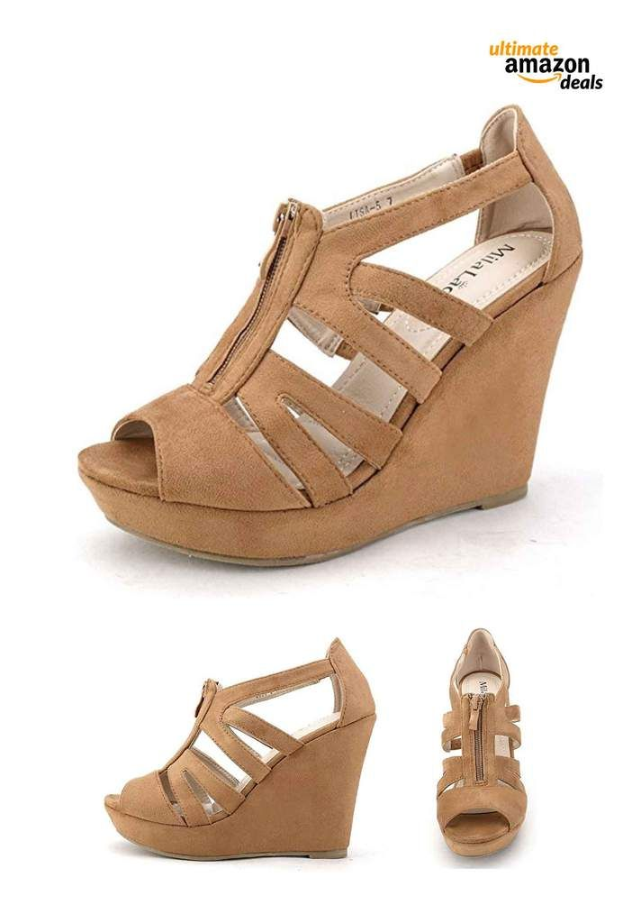 69fbe2a4980 Mila Lady Strappy Zippered Open Toe Platform Wedge Shoe in 2019 ...