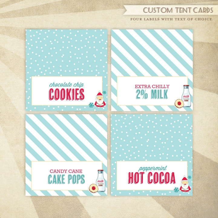 Custom Christmas Milk & Cookies Party PRINTABLE Tent Cards by HWTM