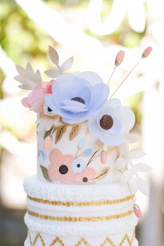 Rifle Paper Co. inspired cake | View entire slideshow: Sophisticated Baby Showers on http://www.stylemepretty.com/collection/4057/