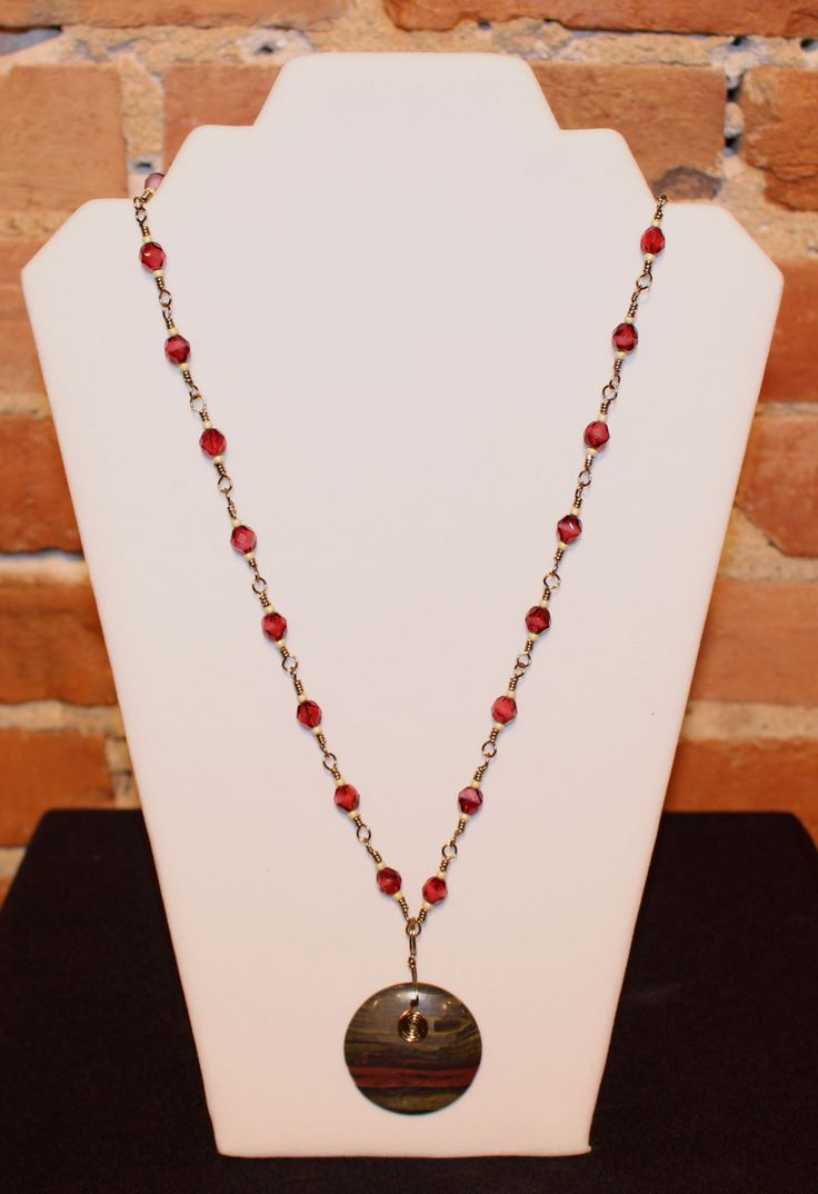Jasper stone, hand made copper necklace with fire polish beads.