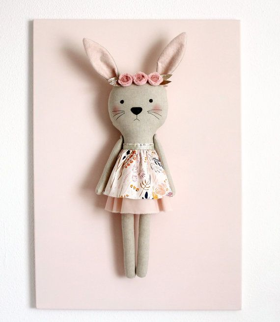 Handmade bunny with a floral headband. Stuffed bunny animal. Birthday gift for girls. Children bedroom decor. Nursery decor.Baby shower gift