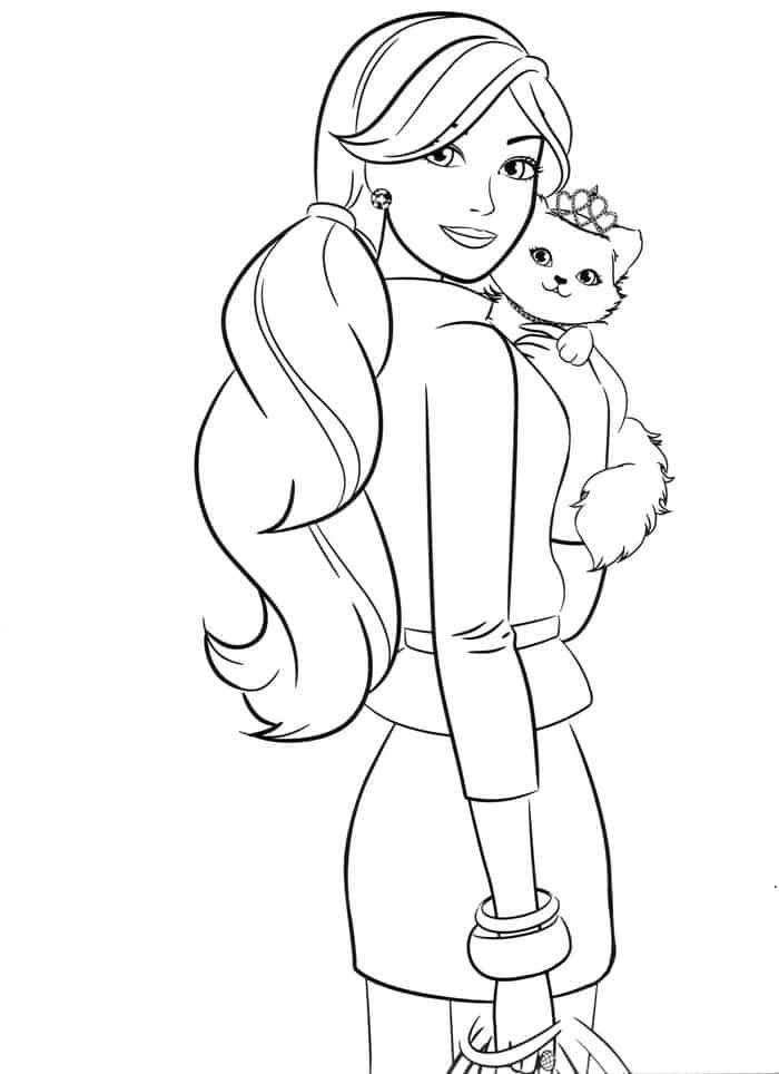 Barbie And Cat Coloring Pages Barbie Coloring Pages Princess Coloring Pages Mermaid Coloring Pages