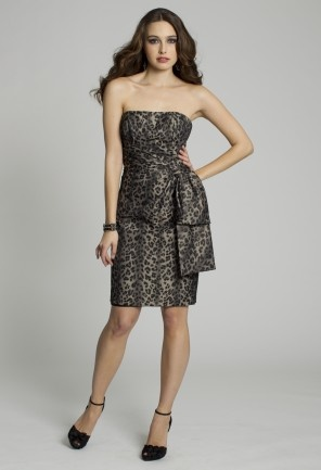 Short Dresses - Strapless Animal Print Tube Prom Dress from Camille La Vie and Group USATube Dress, Strapless Dress, Mode2Dayslook Straplessdress