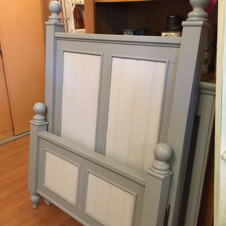 Solid wood twin bed for sale, painted gray & white headboard, footboard and metal rails:  Sold for $129.99 at Estate ReSale & ReDesign.  Perfect for cottage, beach, coastal style guest or child's bedroom home decor; Upcycle, Recycle, Salvage, diy, thrift, flea, repurpose, refashion!  For vintage ideas and goods shop at Estate ReSale & ReDesign, Bonita Springs, FL