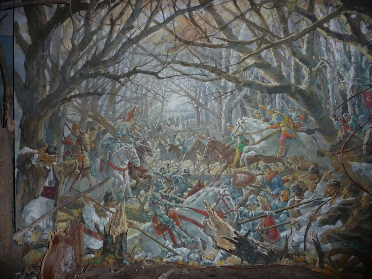 Battle of Cosmin Forest 1497. The Moldavian army of Stefan the Great defeats a Polish army. Diorama from the National History Museum in Bucharest.