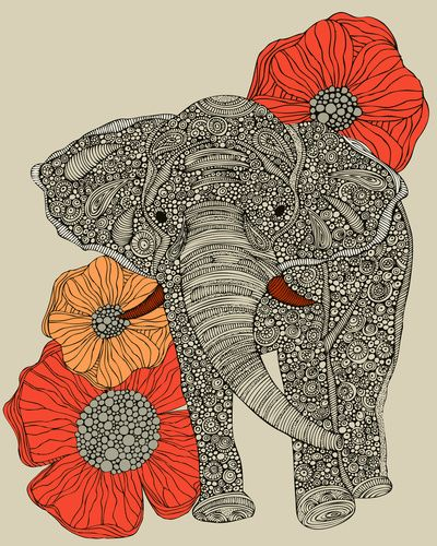 Cool elephant print: Elephants Art, Art Prints, Elephants Prints, Poppies, A Tattoo, Flowers, Elephants Love, Drawing, Animal