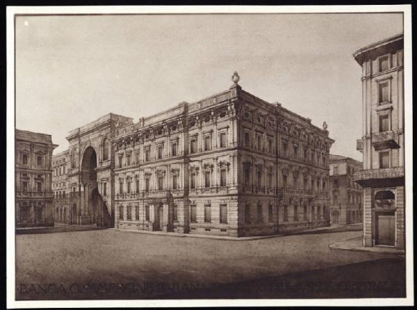 Disegno - Progetto per il Palazzo della Direzione Centrale della Banca Commerciale Italiana (Piazza della Scala angolo via S. Margherita) - Luca Beltrami