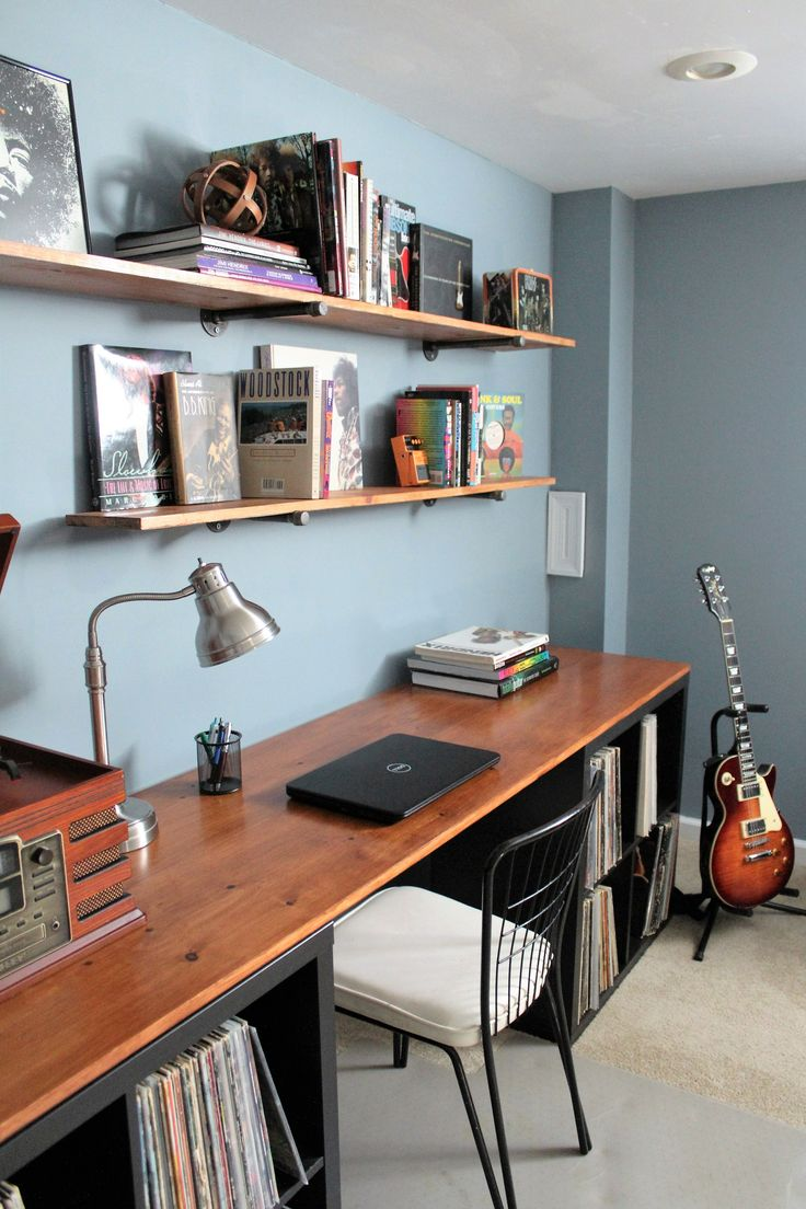 Music room makeover- DIY desktop and pipe shelving. Stain color on desktop and shelves: Antique Walnut- Minwax Polyshades. @minwax