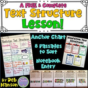Are you teaching text structures in your upper elementary classroom? You'll definitely want to download these free printables! You will have everything you need to facilitate a complete and thorough text structure lesson! (Well, you'll just need to provide the anchor chart paper and the clipboards.) It features the five following text structures: Sequence Compare and Contrast Cause and Effect Problem and Solution Description It contains three activities:1.