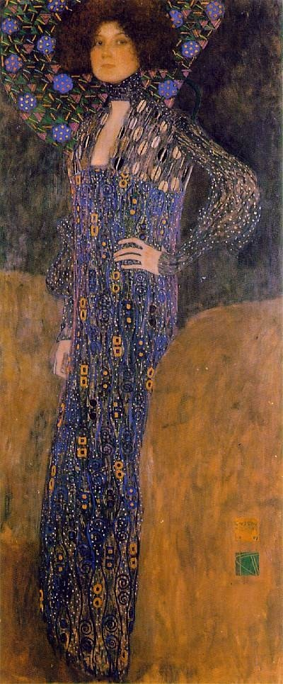 Emilie Floge - 1902 - by Gustav Klimt (Austrian, 1862-1918) - Oil on canvas - 178.0x 80.0cm. - Historical Museum of the City of Vienna, Vienna, Austria - Style: Art Nouveau (Modern) - https://en.wikipedia.org/wiki/Emilie_Louise_Fl%C3%B6ge