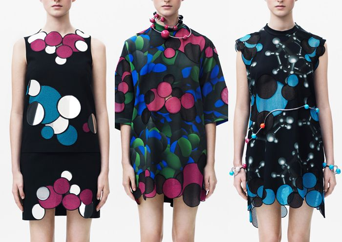Christopher Kane – Pre A/W 2104/15-Molecule Shapes – Circular Forms – Reflective Surfaces – New Shapes –  Pattern Overlaps – Scientific Experiments – Flat Graphic Colour