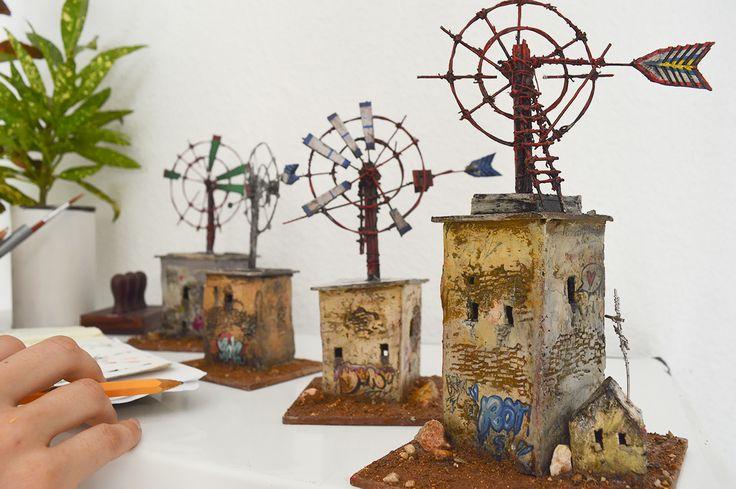 "Miniature sculptures inspired by architecture in Mallorca.   ""Los Molinos"" by Katarina Pridavkova . #molino #urbanart #pridavkova #miniatureart #diorama #house #housemodel #architecturemodel #windmill #modelmaking #mallorca #streetart #graffitiart #contemporaryart"