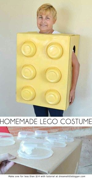 Homemade Lego costume, box and old Tupperware bowls