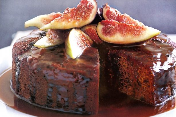 This irresistibly moist fig cake is given the final touch with a luscious, sticky caramel sauce.
