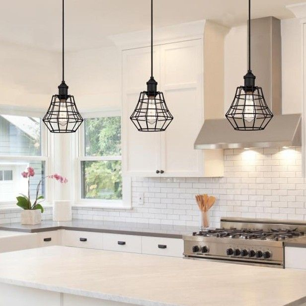 Hang The Metal Wire Cage Pendant Light In A Group Really Promote The Kitchen Island Only Sold At Us Cage Pendant Light Pendant Light Kitchen Pendant Lighting