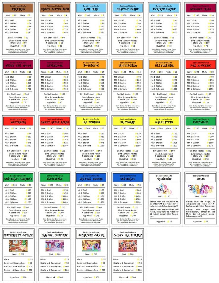 Monopony Deed Cards Front by