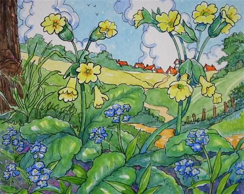 daily paintworks quotforget me nots and cowslips stquot by
