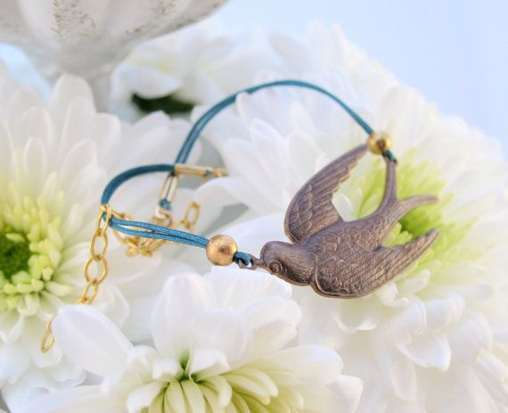 Antique Gold Swallow Bracelet on Turquoise Cord - Fly Away with this Unique Bird Design!