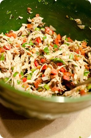 CHICKEN BURRITO BOWLS  2 chicken breasts, boiled & shredded    2 limes, freshly squeezed    1/2 tbsp. cumin salt to taste    1/4 cup finely chopped cilantro    1 red bell pepper, diced    1 green bell pepper, diced    1/2 onion, diced    1 can black beans, drained