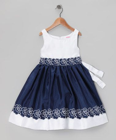 Take a look at this Navy & White Embroidered Dress - Infant, Toddler & Girls by Sweet Heart Rose on #zulily today!