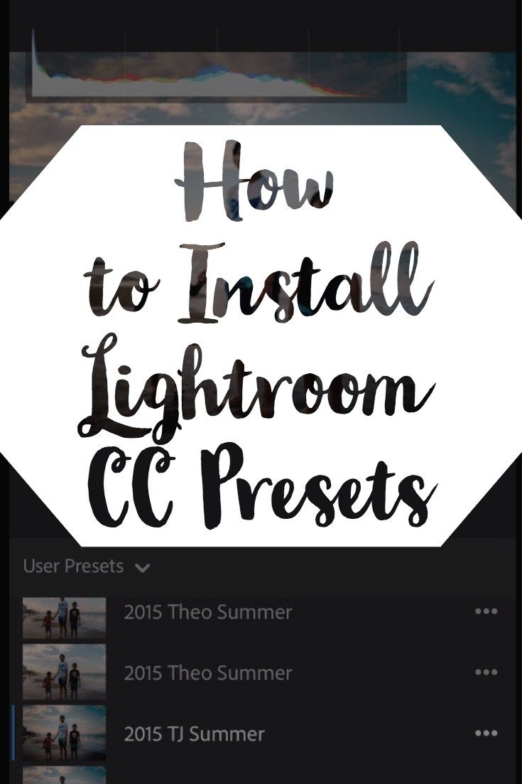 Preset Installation Instructions for Lightroom CC