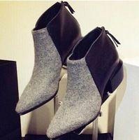 Mujeres Botas Otoño Invierno Botines Mid- tacones vintage color contrastante punta estrecha cremallera zapatos botas cortas mujeres Botas Mujer