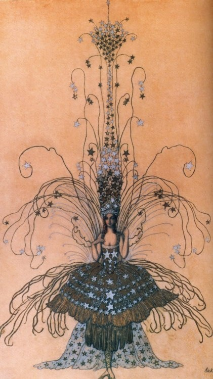 """Queen of the Night"" costume by Leon Bakst for Marchesa Luisa Casati. #fashionillustration."