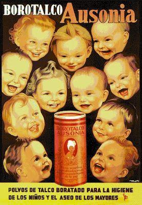Borotalco Ausonia :: Polvos de talco boratado para la higiene de los niños y el aseo de los mayores  #vintage #poster