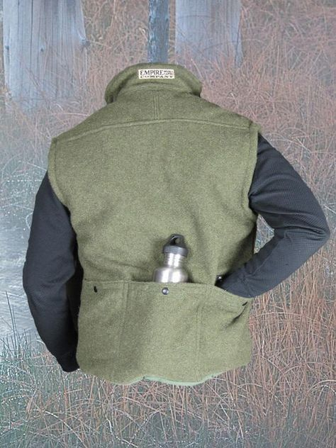 Jackpine Vest in 100% Wool, Rear view with pockets