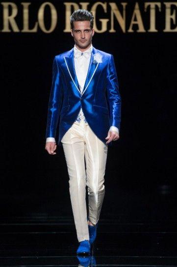 Vestito bluette e avorio Carlo Pignatelli