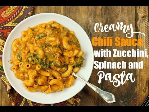 Vegan Creamy Chili Sauce with Zucchini, Spinach, Pasta | The Vegan 8. Sauté onions, add all other ingredients except spinach. Cook on high half of the time listed on the pasta box with QR. Add spinach 1-2 mins before serving.