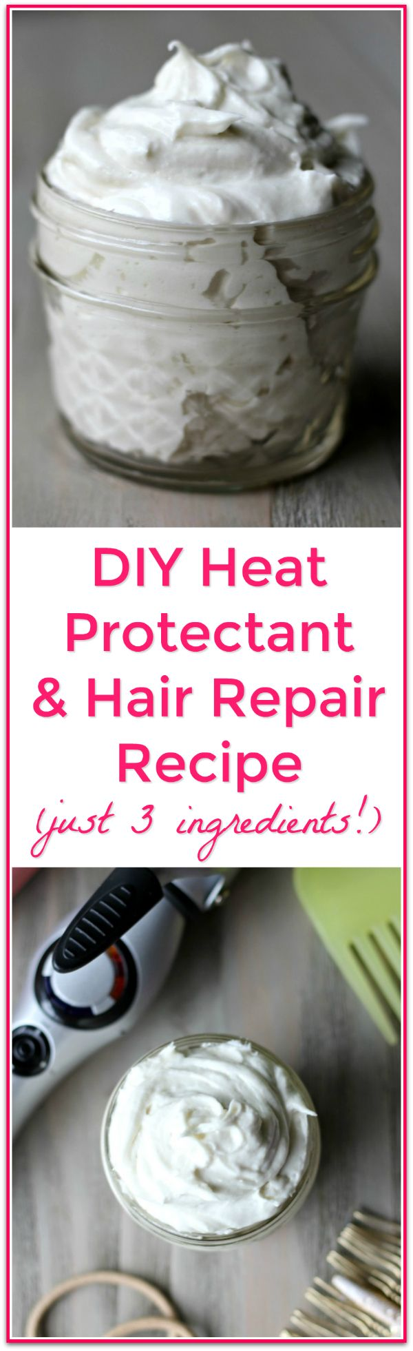 A 3 ingredient, easy DIY Heat Protectant and Hair Repair Styling Cream Recipe with results that even impressed my hair stylist! Simple, natural ingredients to deeply nourish and protect damaged or heat styled hair.