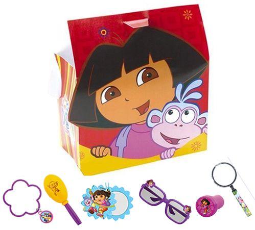 DORA THE EXPLORER PARTY BAG: • Dora the Explorer Bracelet  • Dora the Explorer Mini Maraca  • Dora the Explorer Mirror  • Dora the Explorer Sunglasses  • Dora the Explorer Stamp  • Dora the Explorer Magnifying Glass