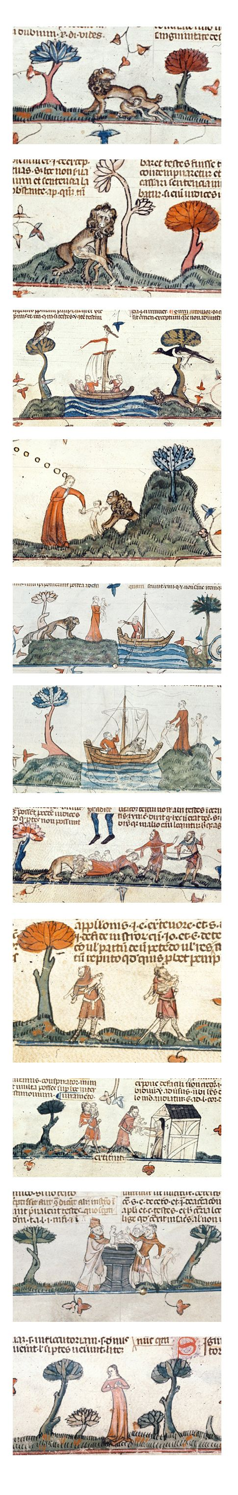 Lion and Children sequence A story lost in the mist of time about two children raised by a lion and baptised Series of images from Smithfield Decretals Gregory IX (a collection of medieval canon law) French about 1350 in Southern France. .