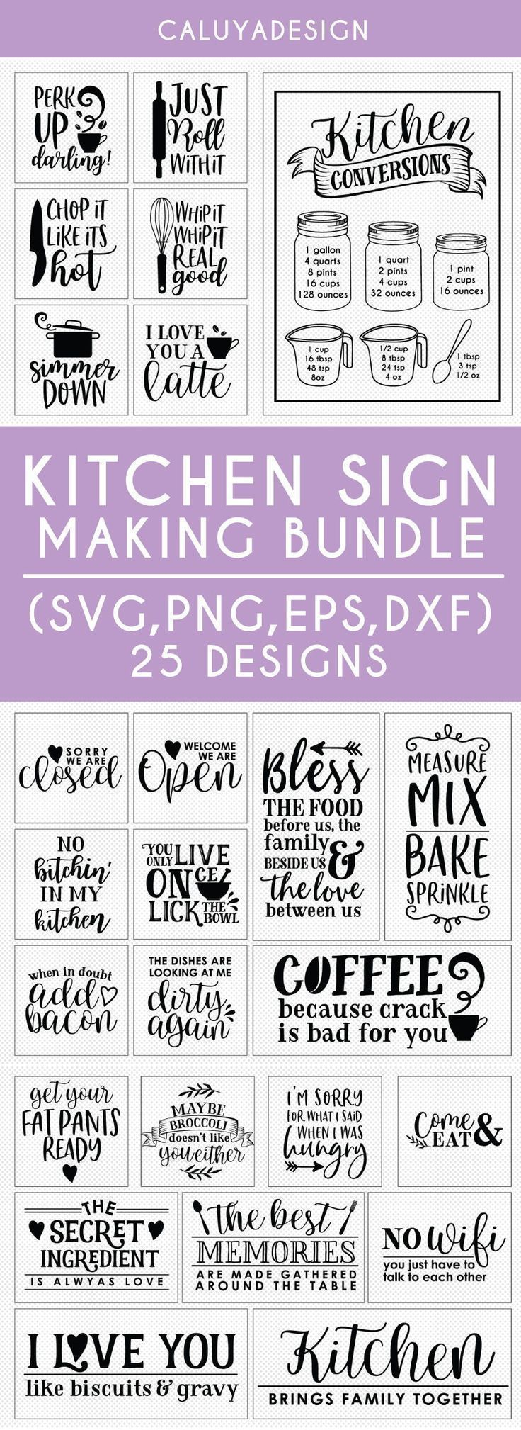 Kitchen Sign Making SVG Cut File Bundle Deal | Cut File for Cricut & Cameo Silhouette | Quote DXF Cu