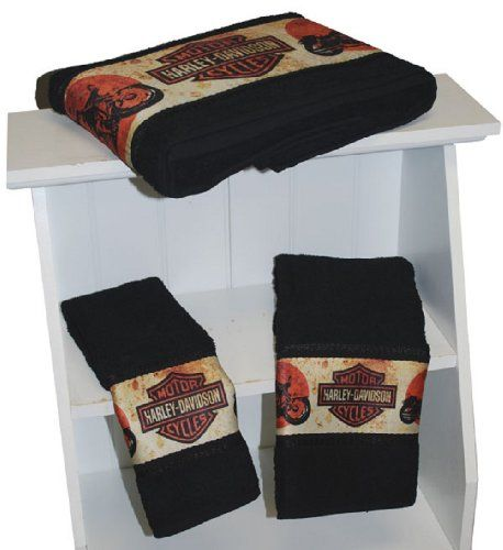 Harley-Davidson® 3-Piece Towel Bath Set. Retro Bike Dye. Harley Bar & Shields Retro Artwork. Bath, Hand, and Wash. All Cotton. 57818HI | http://www.bikeraa.com