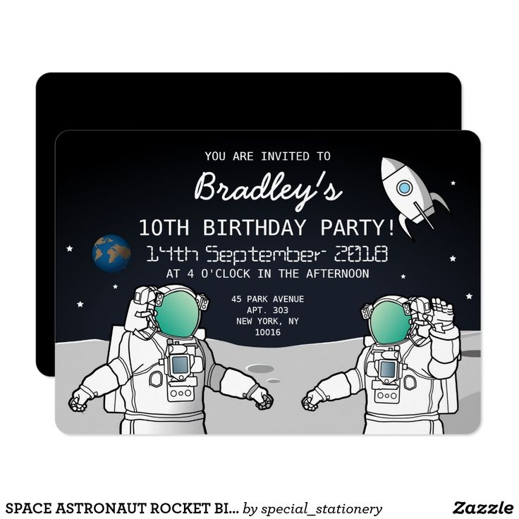 SPACE ASTRONAUT ROCKET BIRTHDAY PARTY CARD