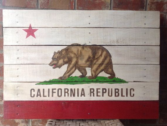 California Republic State Flag  Hand Painted on by TheScarletOak