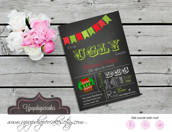 Ugly Christmas Sweater Invite--Ugly Sweater Invitation--Christmas Pary Invitation--Holiday Party Invite--Printable