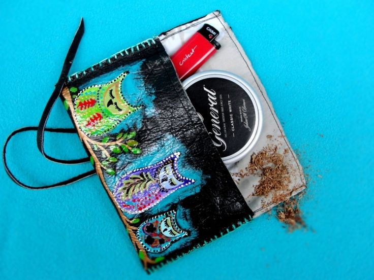 "Handmade and hand-painted tobacco pouch. Portofel pentru tutun ""Owls"""