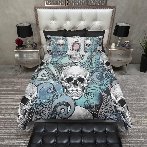 Teal Galaxy Octopus Tentacle Skull Bedding In 2020 Nautical