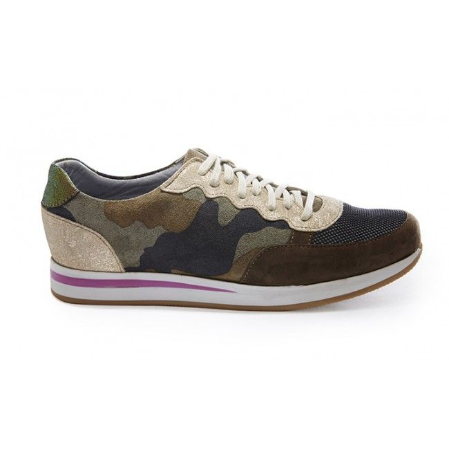 Rose Rankin Khaki Camo Trainers: The khaki 'Colt' are a patchwork mix of faded green camo print nubuck, old gold and khaki suede.