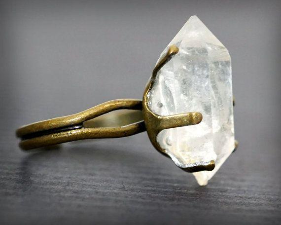 RAW DIAMOND RING , Herkimer Diamonds, Diamond Ring, Natural Stone Ring, Adjustable Ring, Statement Ring, Cocktail Ring