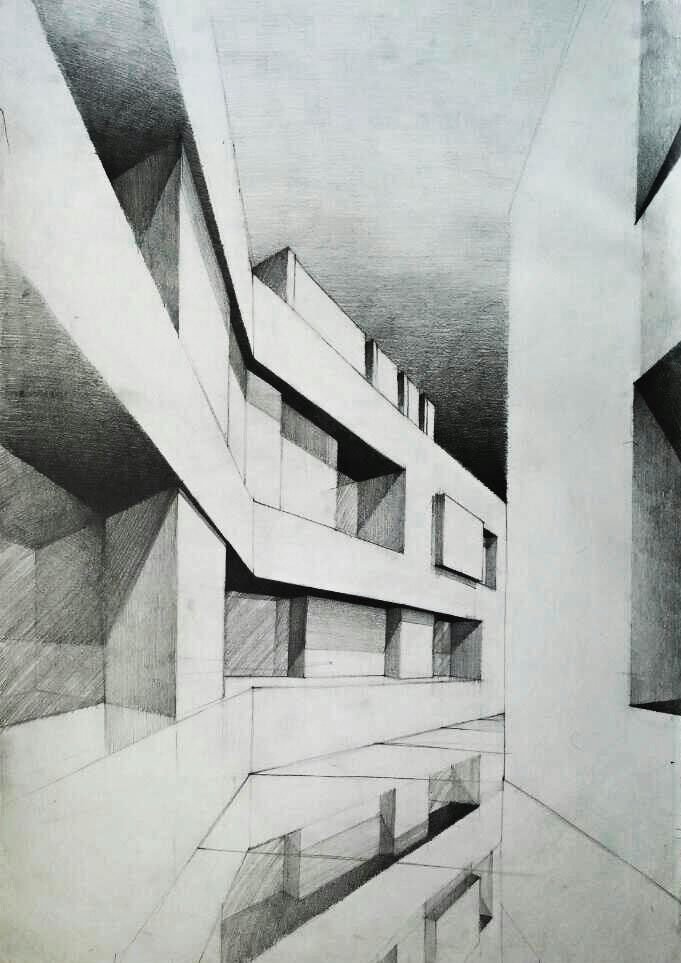 #2 Architecture sketches made on 70cm x 50cm paper on Behance