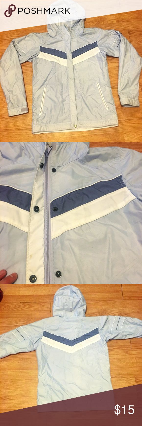 Columbia Rain Jacket Gently used Columbia Rain Jacket, kids size 18/20 or XL.   This is like a periwinkle blue color with white lining. Some discoloration on bottom of sleeves (see pic) slight mark on inside of zipper area (2nd pic). These would all probably come out in the wash.  good used condition Columbia Jackets & Coats Raincoats