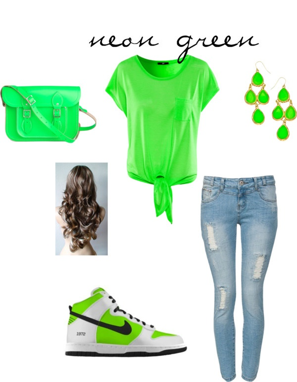 """neon green outfit"" by happypunk ❤ liked on Polyvore... don't know if I could wear the shoes but everything else is cute"